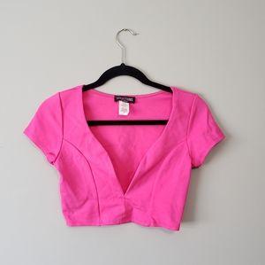 NWT Hot Pink Crop Top Plunge Neckline!